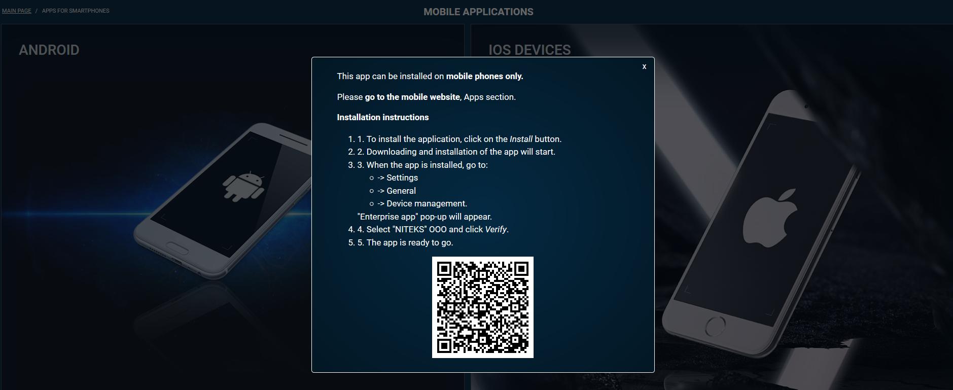Aplicação móvel 1xbet